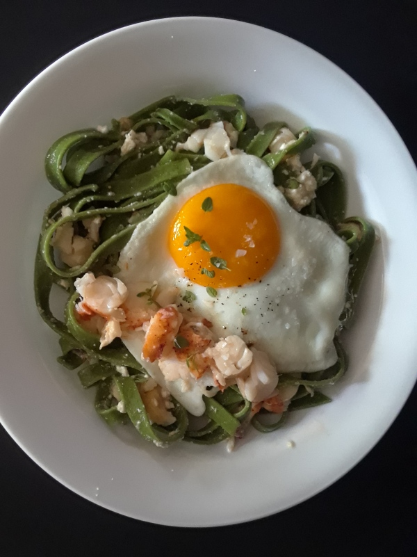 Poke we need pasta with lobster and fried egg on top