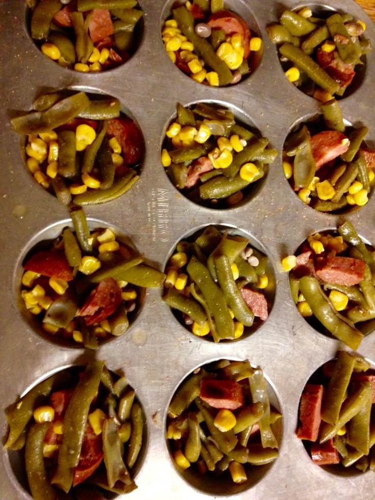 muffin tin meal prep vegetables and sausages