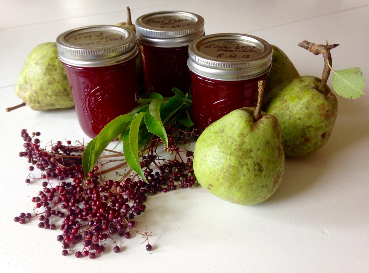 Jars of elderberry pear jam