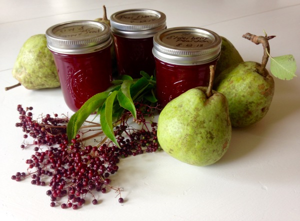 Jars of elderberry pear jam